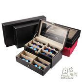 皮革眼鏡收納盒8格12格 時尚太陽鏡展示盒 皮質大墨鏡盒多格 自由角落