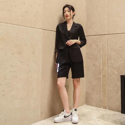 小西服套裝 兩件套S-XL夏季透氣薄款七分袖西裝 五分短褲 兩件套西服套裝H511快時尚