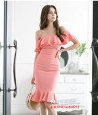 洋裝 夏新款潮洋氣壹字肩長款包臀魚尾裙顯瘦連身裙禮服裙1845