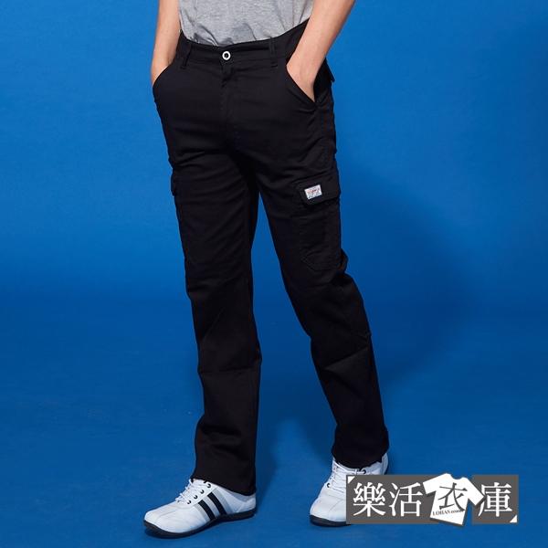 【2058】時尚風潮布標伸縮休閒工作長褲(黑色)● 樂活衣庫