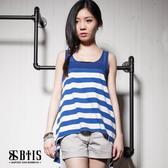 【BTIS】條紋雪紡 無袖上衣 / 藍白條