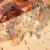 Queen Shop【07030640】壓克力圓形設計耳夾式套組 兩色售*現+預*