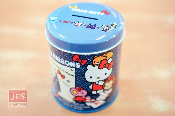 Hello Kitty 圓罐 存錢筒 雙胞胎 牛仔布藍