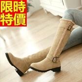 雪靴-加絨保暖高筒低跟女長靴3色64aa9[巴黎精品]