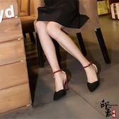 正韓包頭一字扣涼鞋女中跟黑色性感細跟女士百搭高跟鞋