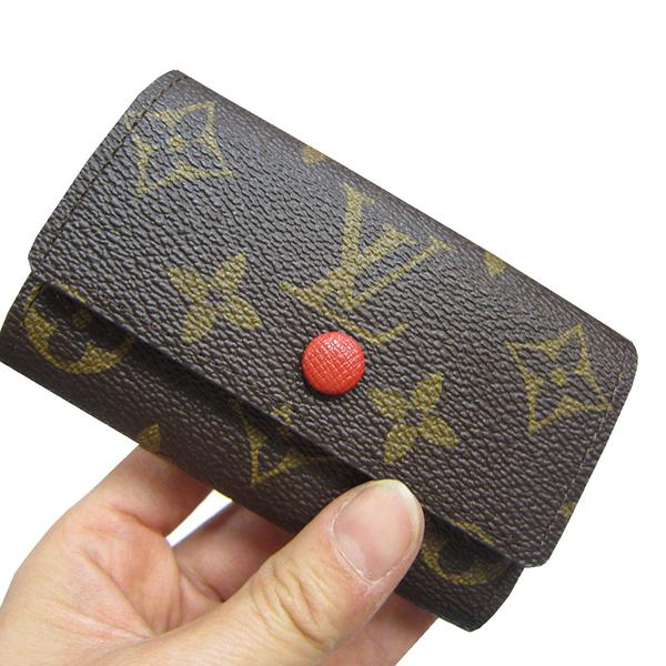 ~雪黛屋~LV 鑰匙包國際正版保證防水防刮皮革三折暗釦主袋內六隻鑰匙輕巧放口袋品牌證明禮盒