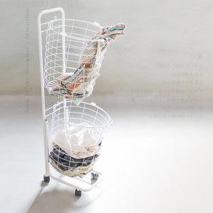 雙籃收納車 洗衣籃收納車【樂嫚妮】推車 洗衣籃附煞車輪 日用品收納 雙籃收納車-白W