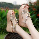 楔形鞋 波西米亞涼鞋女夏季露趾涼鞋坡跟女鞋韓版百搭厚底高跟鞋 【唯伊時尚】