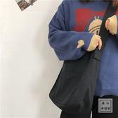 韓國寬肩帶chic港風原宿學生帆布袋斜挎包ulzzang學院風女單肩包 初心家居