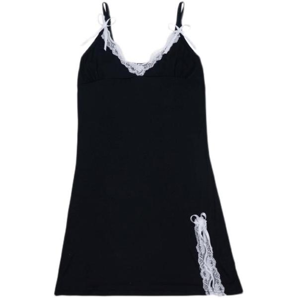性感V領低胸蕾絲邊吊帶裙2021新款春夏打底裙氣質修身開叉洋裝【快速出貨】