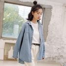 春秋季新款復古條紋牛仔襯衫外套少女設計感小眾上衣百搭學生韓版 「雙11狂歡購」