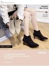細跟短靴 尖頭切爾西短靴女2020秋冬季新款細跟百搭英倫風復古瘦瘦高跟裸靴 歐歐