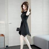 夏裝2020新款女名媛氣質無袖不規則小黑裙修身顯瘦A字禮服洋裝 「99購物節」