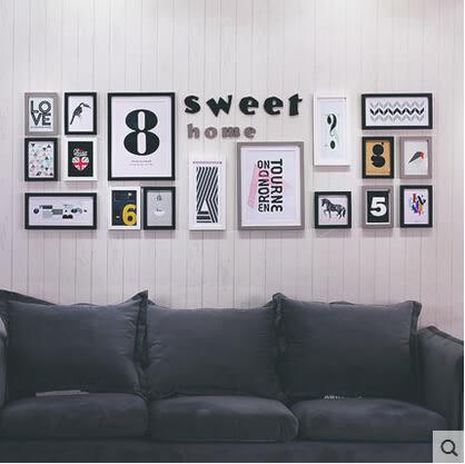 照片牆相框牆客廳現代簡約大尺寸相片牆實木掛牆創意組合照片牆