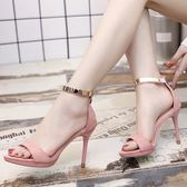 夏季新款細跟高跟鞋中跟涼鞋黑色絨面露趾女鞋 LQ3180『小美日記』
