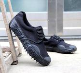 純黑色跑步男鞋工作鞋廚房帆布鞋男士運動鞋小黑鞋勞保鞋 可可鞋櫃