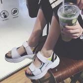 涼鞋新品女夏韓國厚底鬆糕底魔術貼運動鞋學生旅游度假羅馬鞋 七夕情人節