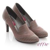 effie 都會風情 全真皮壓紋拼接樂福高跟鞋 粉