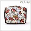盥洗包 包包 防水包 雨朵小舖Z-167-008 手提盥洗包-白時鐘花園02452 皇后與貓
