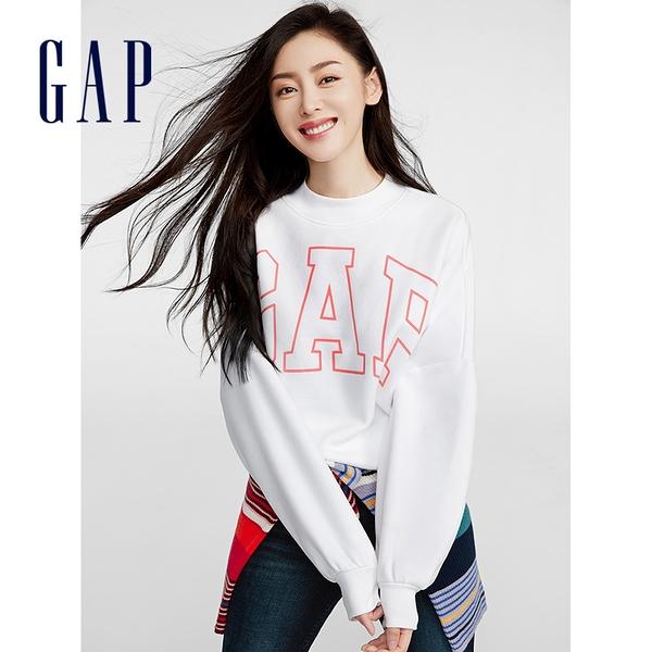 Gap女裝 Logo簡約風格寬鬆款休閒上衣 620508-白色