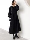 襯衫裙 赫本風長款襯衫裙法式復古黑色長裙收腰加厚內搭長袖連身裙女秋冬 coco