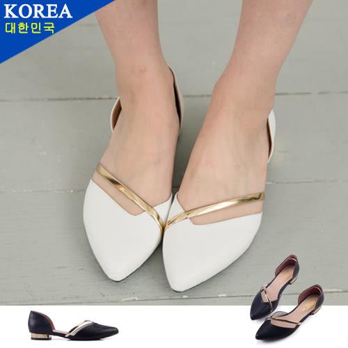 女款 韓國時尚尖頭金屬包覆側鏤空 平底鞋 低跟鞋 尖頭鞋 59鞋廊