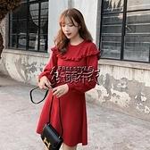 秋冬新款韓版女裝2038#高品質純色長袖針織洋裝小個子【快速出貨】