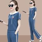 棉麻寬管褲短袖運動休閒套裝女2020夏季新款時尚寬鬆衛衣兩件套秋 設計師