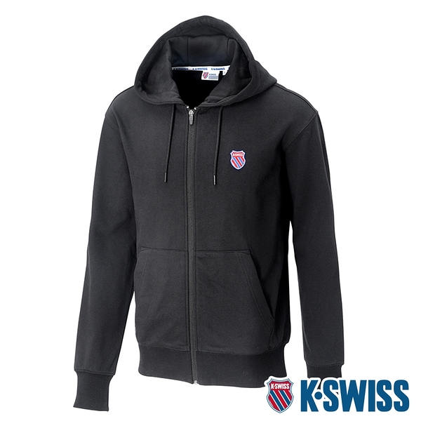 K-SWISS Court Hooded Zip-Up時尚連帽外套-男-黑