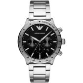 EMPORIO ARMANI 亞曼尼 個性計時手錶-黑x銀/43mm AR11241