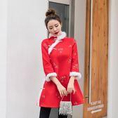 復古中國紅羊毛呢刺繡改良式旗袍真兔毛日常顯瘦夾棉洋裝連身裙洋裝 週年慶降價