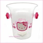 asdfkitty可愛家-二手商品出清-KITTY粉櫻桃冰桶/花器/置物桶-台灣製