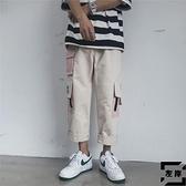 直筒工裝褲夏季韓版寬鬆九分褲休閒褲子潮流【左岸男裝】
