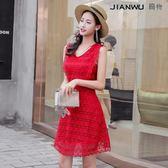 紅色V領蕾絲連衣裙高腰顯瘦小個冷淡風裙子