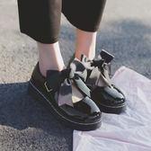 日系洛麗塔lolita厚底女鞋可愛蝴蝶結圓頭娃娃鞋原宿平底軟妹皮鞋 米娜小鋪