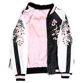 春秋新款百搭印花棒球服女chic港味個性兩面穿刺繡緞面夾克短外套 依凡卡時尚