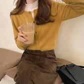針織開衫 春秋季2021新款圓領紫色短款長袖針織開衫寬鬆毛衣外套上衣女外搭 嬡孕哺