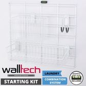法國品牌 walltech 壁面收納組 [1方形直立桿+2深型籃+1雙勾弧形掛鉤]