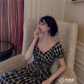 法式裙子顯瘦復古格子洋裝女夏長裙夏季中長款氣質夏天超仙女 伊芙莎