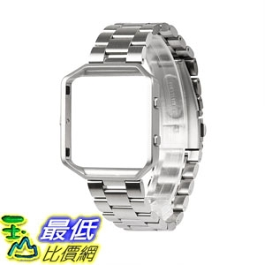 [7美國直購] 金屬錶帶 Wearlizer Compatible Fitbit Blaze Band Silver Lux Blaze Band Accessories Metal Link