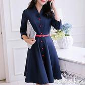 長袖洋裝2017秋冬新款女裝時尚韓版修身顯瘦大碼打底時尚針織連身裙 芭蕾朵朵