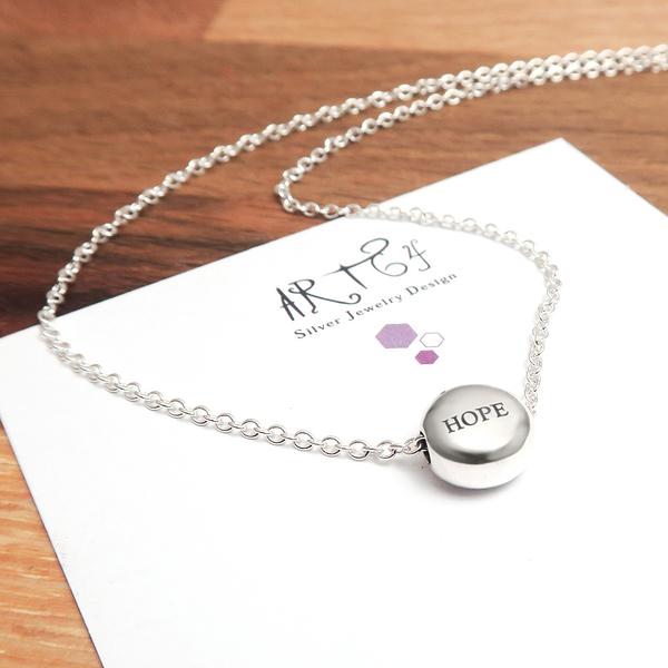 檸檬薄荷糖(大) 單面刻字款 圓形銀珠項鍊 925純銀客製化刻字項鍊