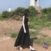 洋裝 馬爾代夫海邊度假沙灘裙海南三亞渡假超仙顯瘦小黑裙吊帶洋裝子 【快速出貨】