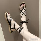 綁帶涼鞋 新款夏季女涼鞋小香夾腳涼鞋女綁帶羅馬平底涼鞋 小宅妮