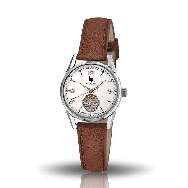 【lip】Himalaya時尚精緻真皮鏤空機械腕錶-深棕款/671605/台灣總代理公司貨享兩年保固
