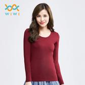 【WIWI】MIT溫灸刷毛圓領發熱衣(醇酒紅 女S-2XL)