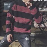 潮流時尚韓式風格條紋造型保暖高領毛衣