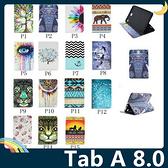三星 Tab A 8.0 P350/355 動物圖騰保護套 十字紋側翻皮套 繽紛彩繪 軟包邊 支架 插卡 平板套 保護殼