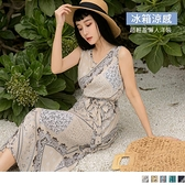 《DA8352-》觸膚涼感滿版印花腰綁帶無袖洋裝 OB嚴選