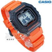 CASIO卡西歐 W-218H-4B2 復古方型設計 數位電子錶 女錶 男錶 學生錶 防水 橘色 W-218H-4B2VDF